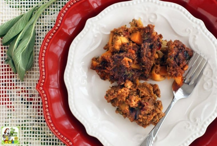Gluten Free Cornbread Stuffing with Chorizo, Squash & Apples