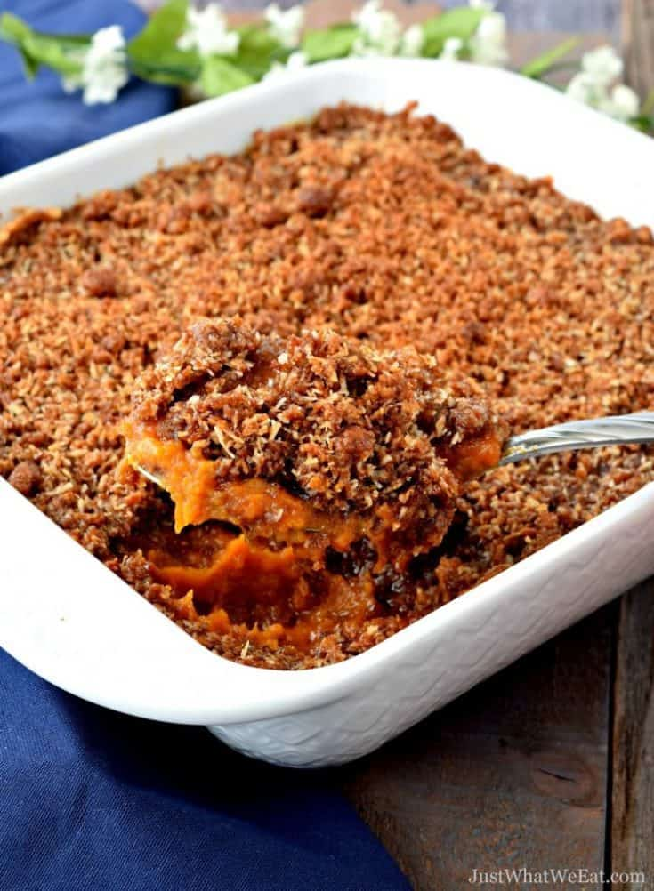 Sweet Potato Casserole with Coconut Streusel Topping - Gluten Free, Vegan