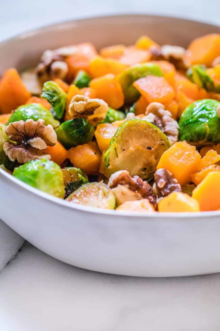 Brussel Sprouts & Butternut Squash with Citrus Vinaigrette - Kroll's Korner