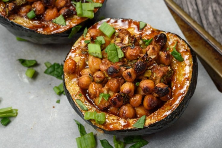 Hoisin-Glazed Stuffed Acorn Squash