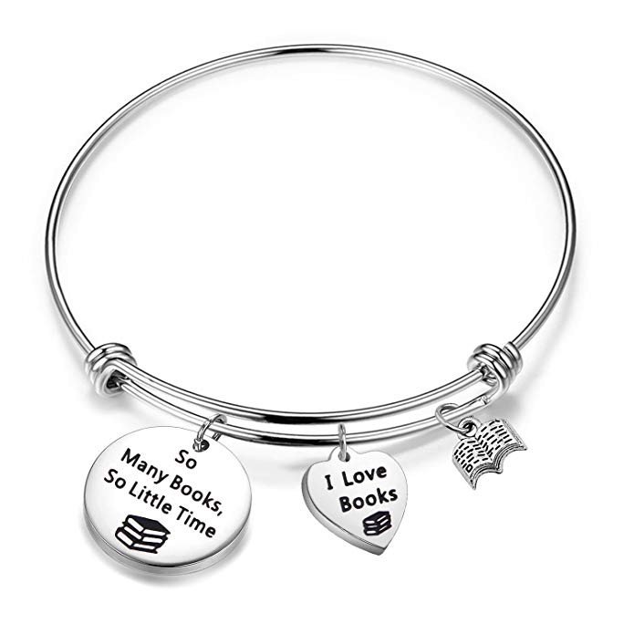 Love Books Bracelet So Many Books So Little Time Reading Bangle