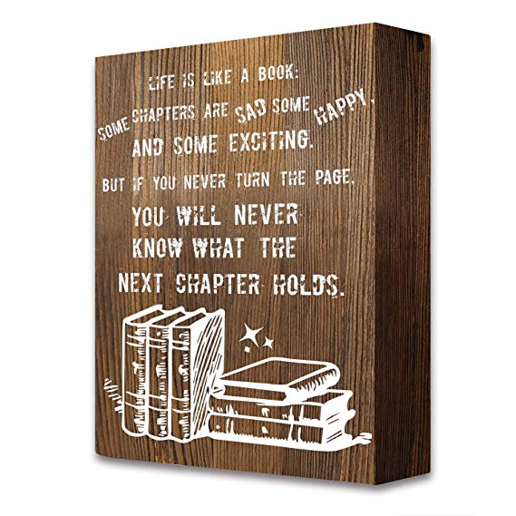 Book Lover Gift Quotes Rustic Farmhouse Wooden Box Signs Plaque Decor