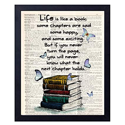 Old Book Art Print,  Book Quote Wall Art Decor 8x10 Unframed