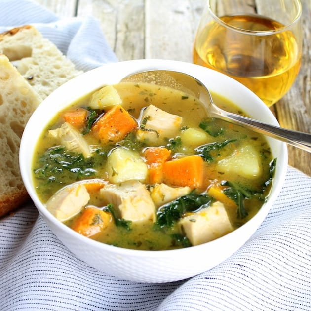 Kale and Butternut Squash Turkey Soup