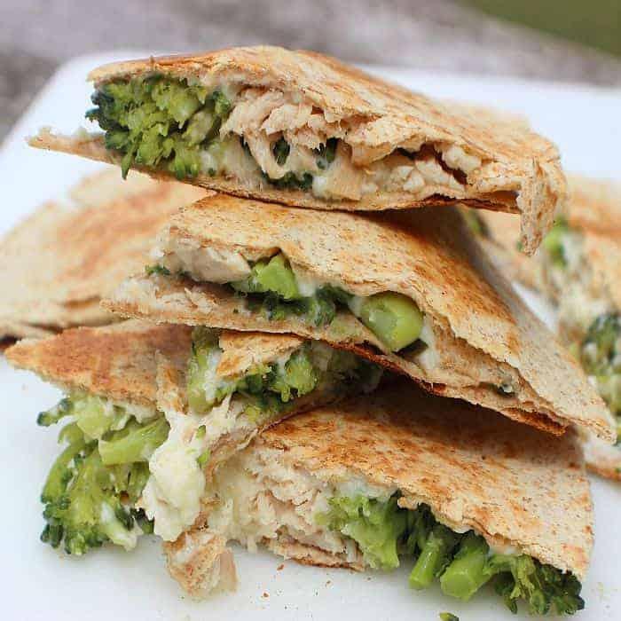 Turkey Broccoli Alfredo Quesadillas