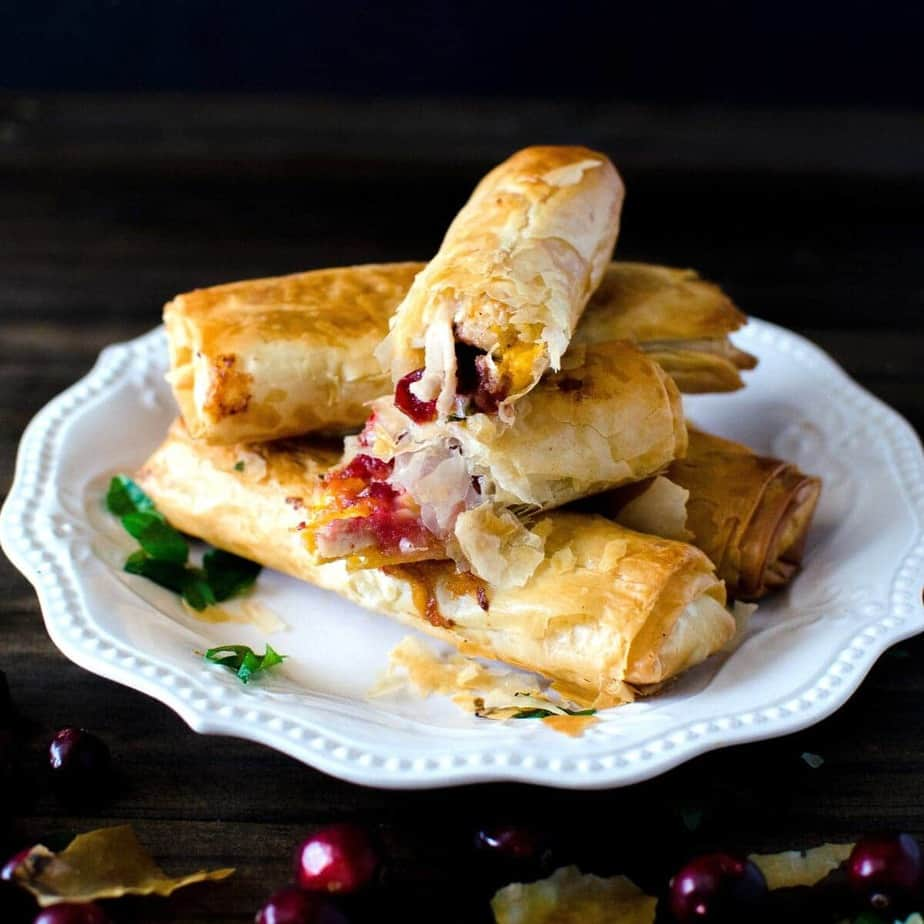 Cranberry, Cheese & Turkey Filo Rolls