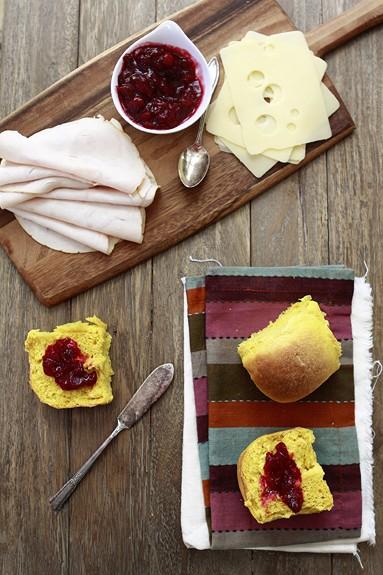 Leftover Turkey Sandwiches on Sweet Potato Rolls