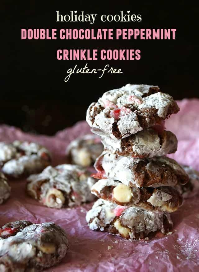 Gluten-Free Chocolate Peppermint Crinkle Cookies
