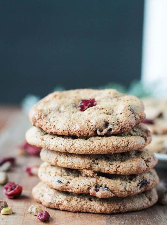 Cranberry Pistachio Cookies (gluten free, vegan)