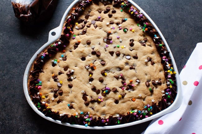 Heart-Shaped Chocolate Chip Cookie Cake