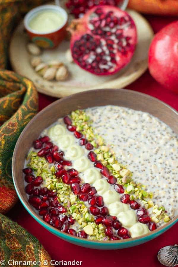 Healthy Vegan Overnight Oats with Pistachios, Rosewater & Pomegranate