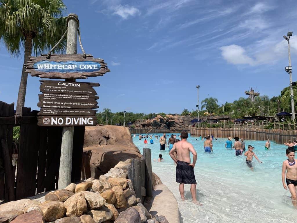 Wave pool at Typhoon Lagoon on a Disney world summer vacation
