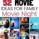 52 family movie night ideas graphic