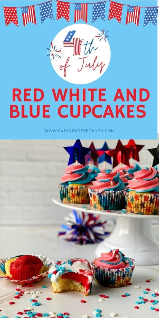 Red White and Blue Cupcakes are  festive, fun and patriotic for 4th of July and summer parties. Forget about using the box, check out how easy it is to make this recipe from scratch!