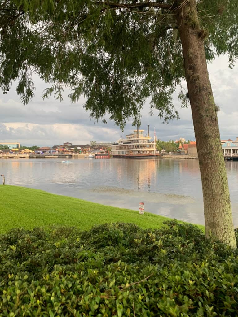 view of Disney Springs from Saratoga Springs.