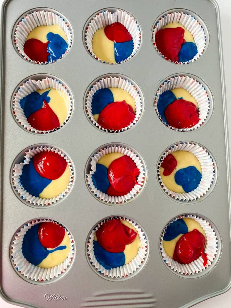 getting ready to bake the red white and blue cupcakes.