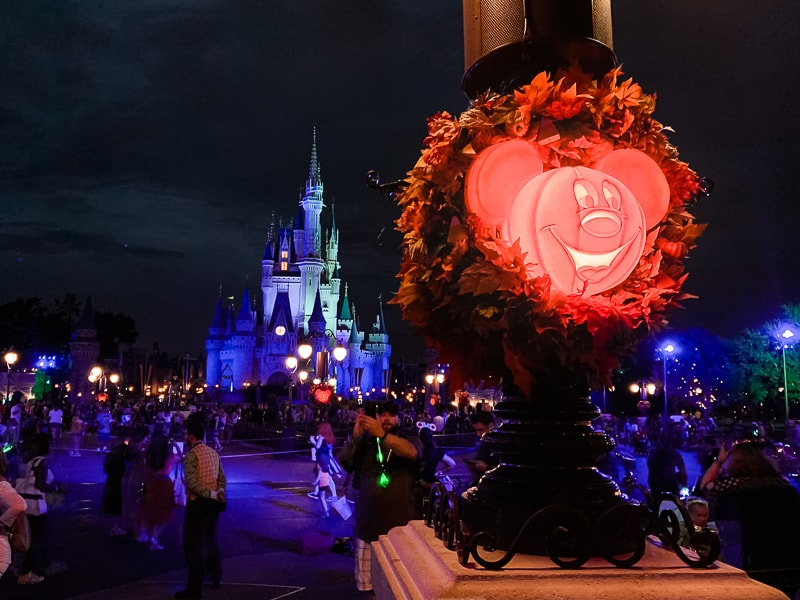 pumpkins lit up in Magic Kingdom for Disney after Hours boo bash