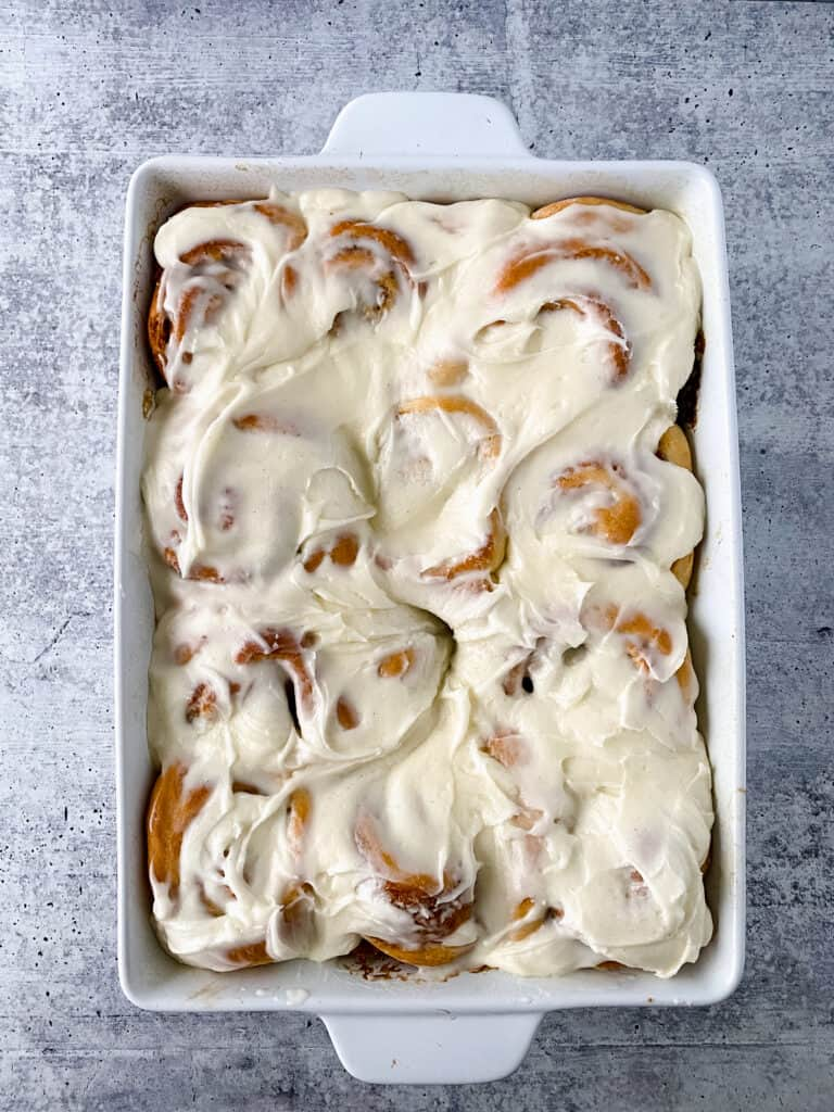 gingerbread cinnamon rolls in pan out the over