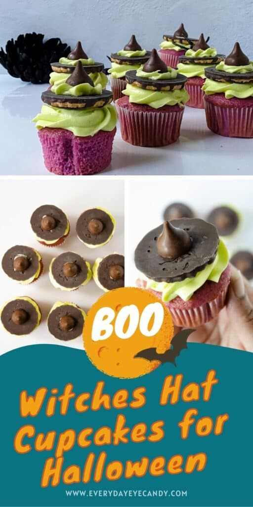eat to get you in the Halloween spirit? Check out these adorable witch hat Cupcakes that are the perfect treat for your next halloween party or bake sale!